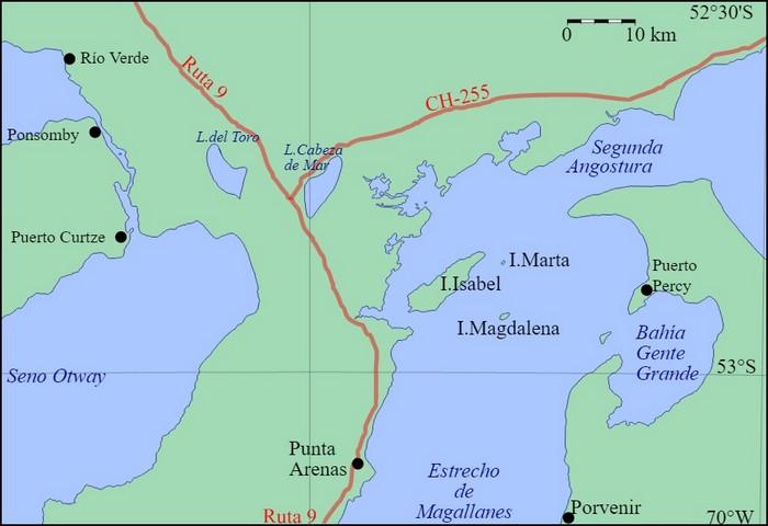 Carte Isla Magdalena et Marta